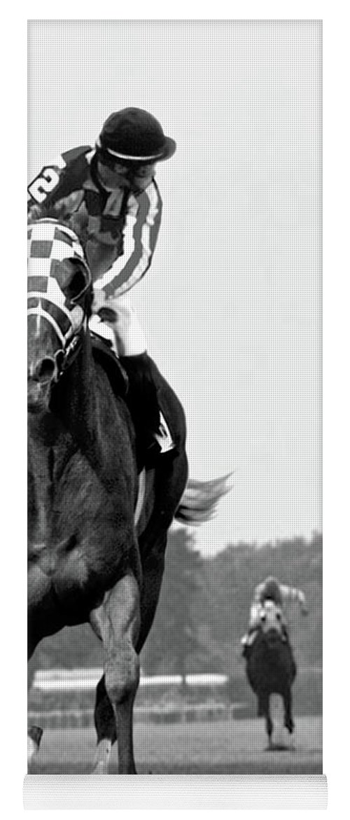 Looking Back Yoga Mat featuring the painting Looking back, 1973, Secretariat, stretch run, Belmont Stakes by Thomas Pollart