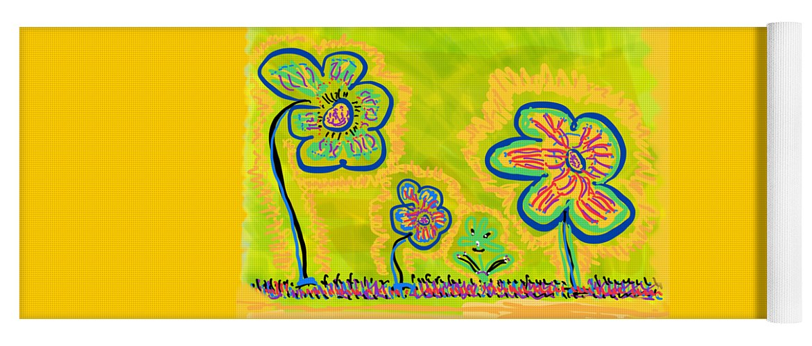 Spring Yoga Mat featuring the drawing Looking for Spring by Pam Roth O'Mara