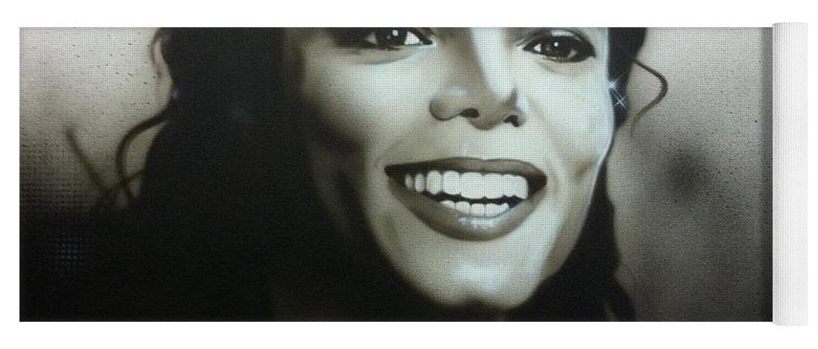 Michael Jackson Yoga Mat featuring the painting M. J. by Christian Chapman Art