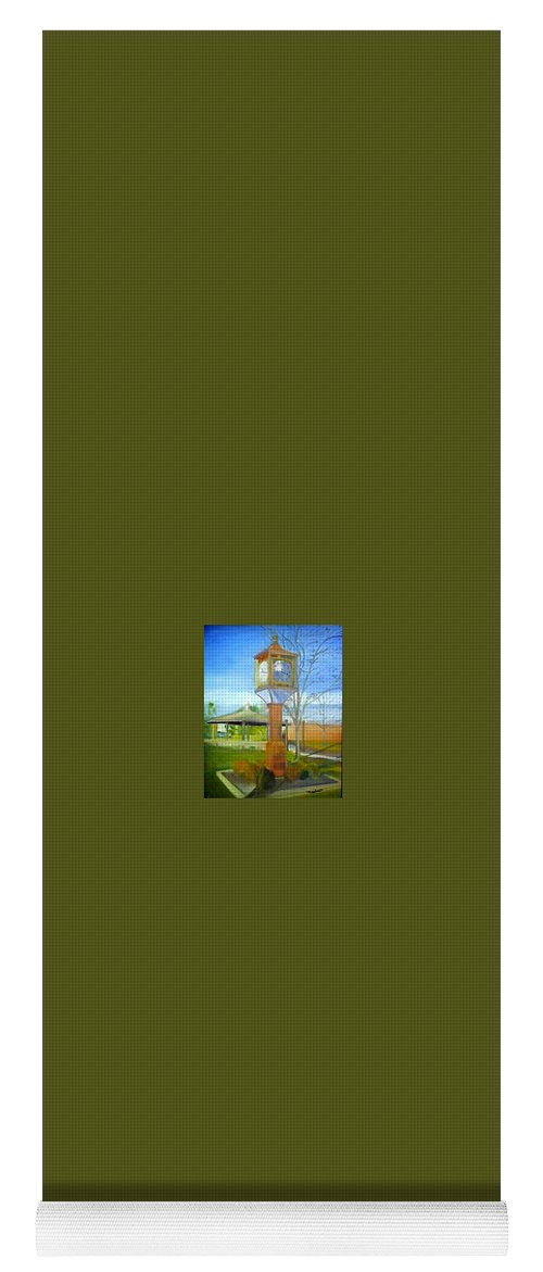 Maple Shade Yoga Mat featuring the painting Maple Shade Clock by Sheila Mashaw
