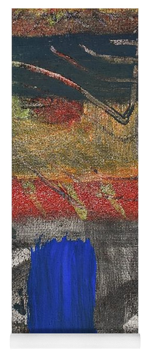 Abstract Yoga Mat featuring the painting Marking 01 by Pam Roth O'Mara