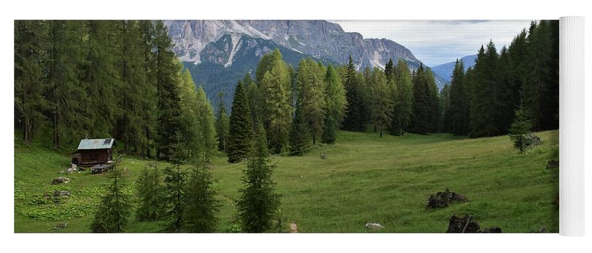 Dolomites Yoga Mat featuring the photograph Meadow in the dolomites by Luca Lautenschlaeger