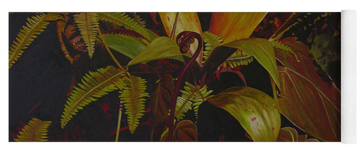 Plant Yoga Mat featuring the painting Midnight in the garden by Thu Nguyen