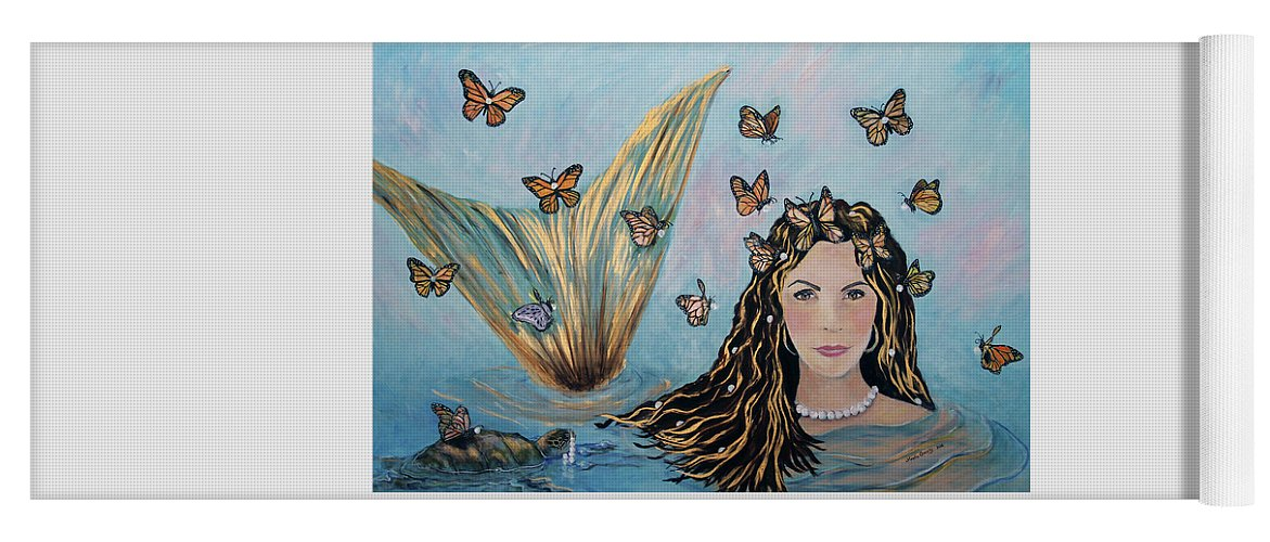 Mermaid Yoga Mat featuring the painting More Precious Than Gold by Linda Queally