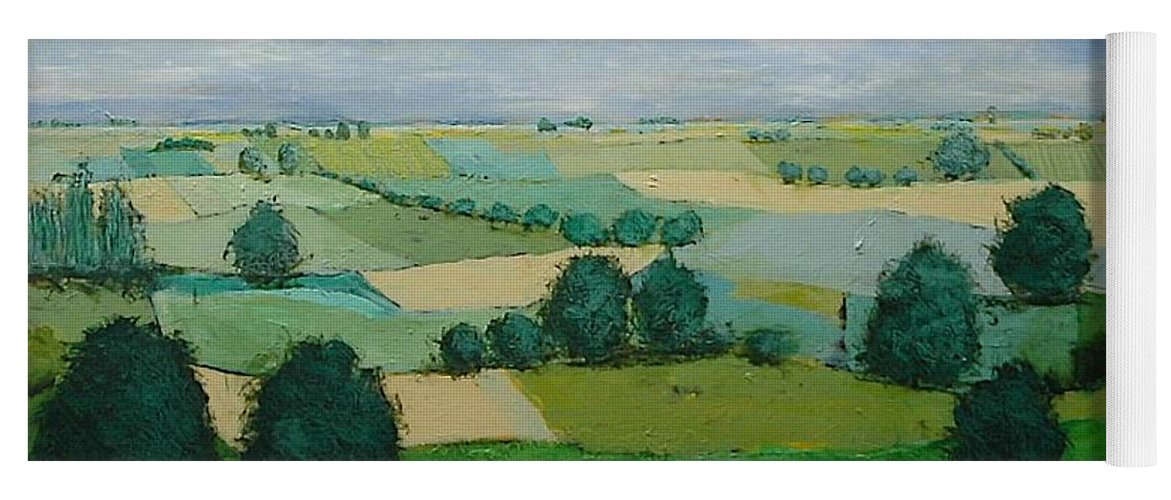 Landscape Yoga Mat featuring the painting Morning Calm by Allan P Friedlander