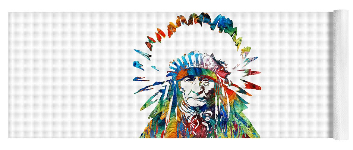 Native American Yoga Mat featuring the painting Native American Art - Chief - By Sharon Cummings by Sharon Cummings