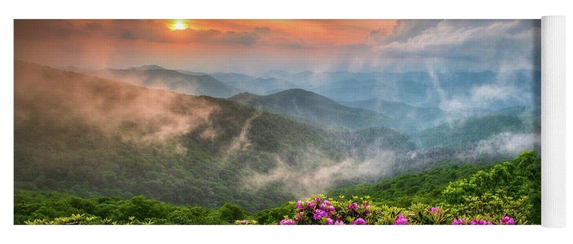 North Carolina Yoga Mat featuring the photograph North Carolina Blue Ridge Parkway Spring Appalachian Mountains NC by Dave Allen
