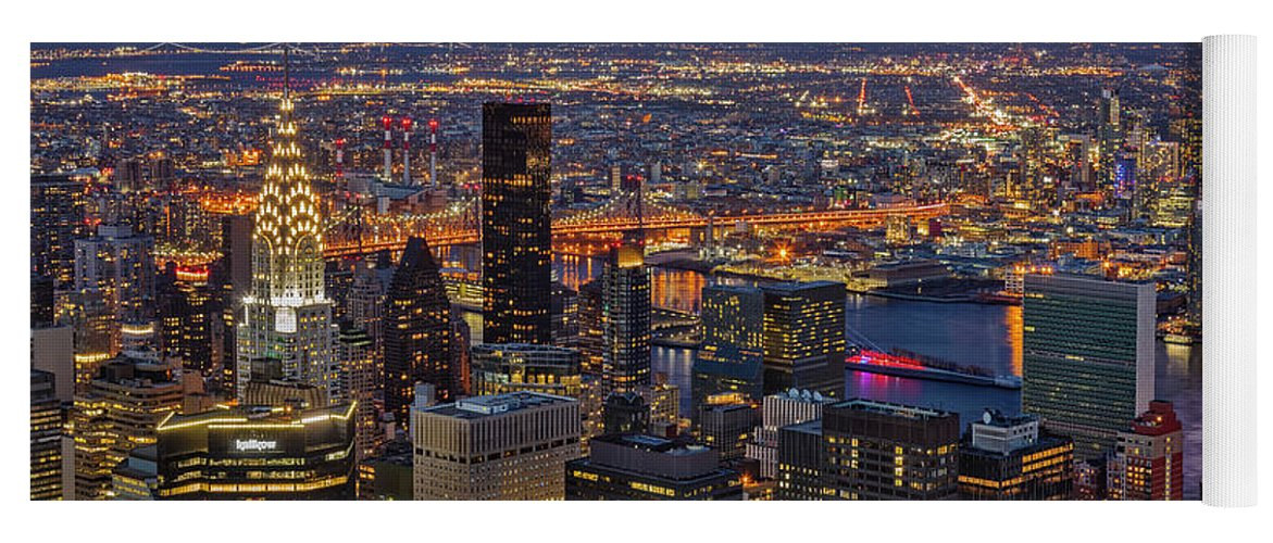 Nyc Skyline Yoga Mat featuring the photograph Nyc Twilight by Susan Candelario