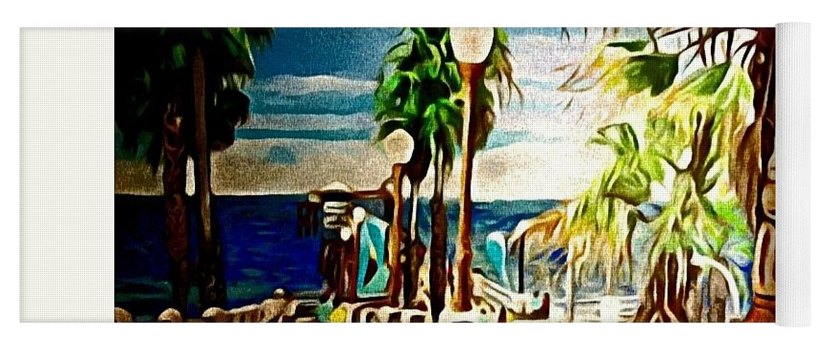 Landscape Yoga Mat featuring the painting Oceanside Peir by Andrew Johnson