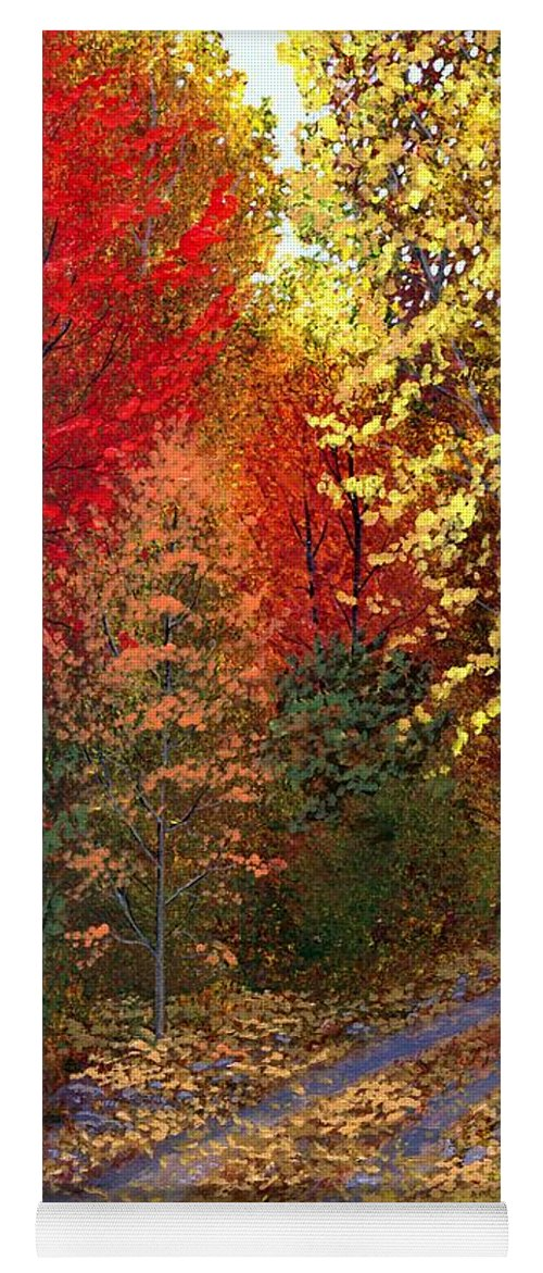 Landscape Yoga Mat featuring the painting October Road by Frank Wilson