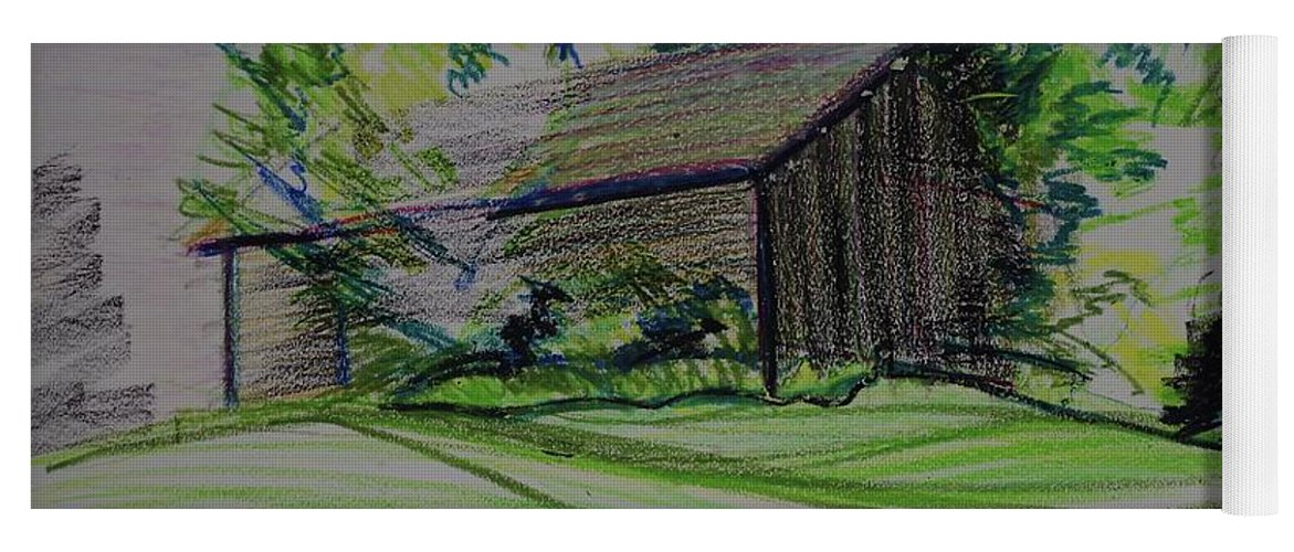 Plein Air Yoga Mat featuring the pastel Old Barn At Wason Pond by Sean Connolly