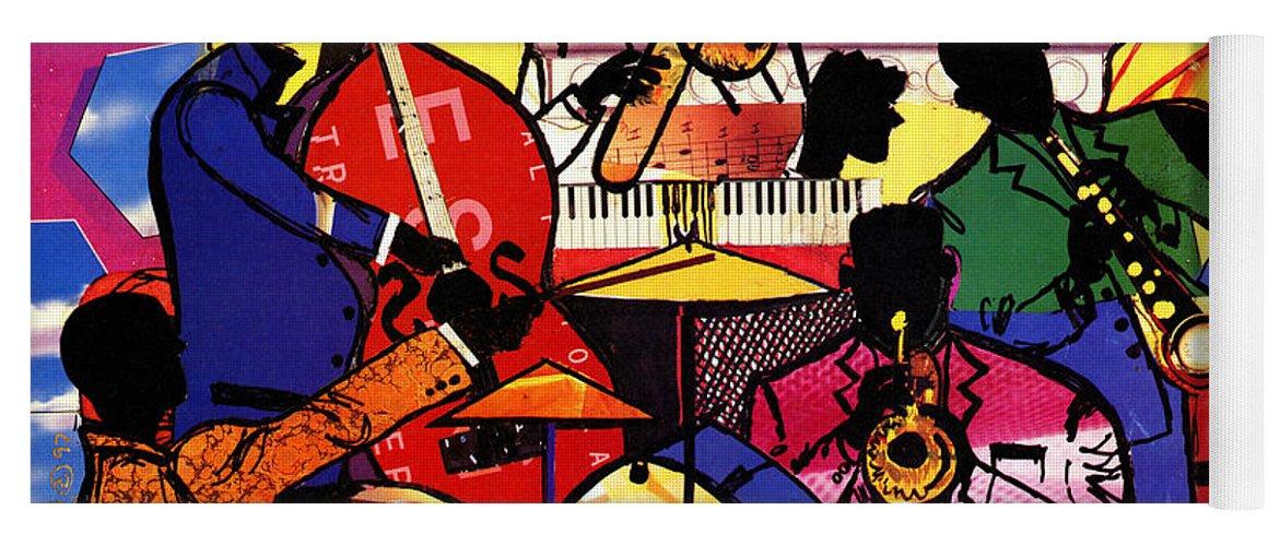 Everett Spruill Yoga Mat featuring the painting Old School Jazz by Everett Spruill
