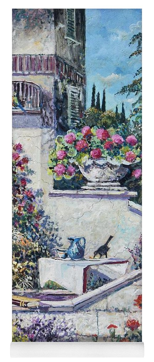 Original Painting Yoga Mat featuring the painting On The Porch by Sinisa Saratlic