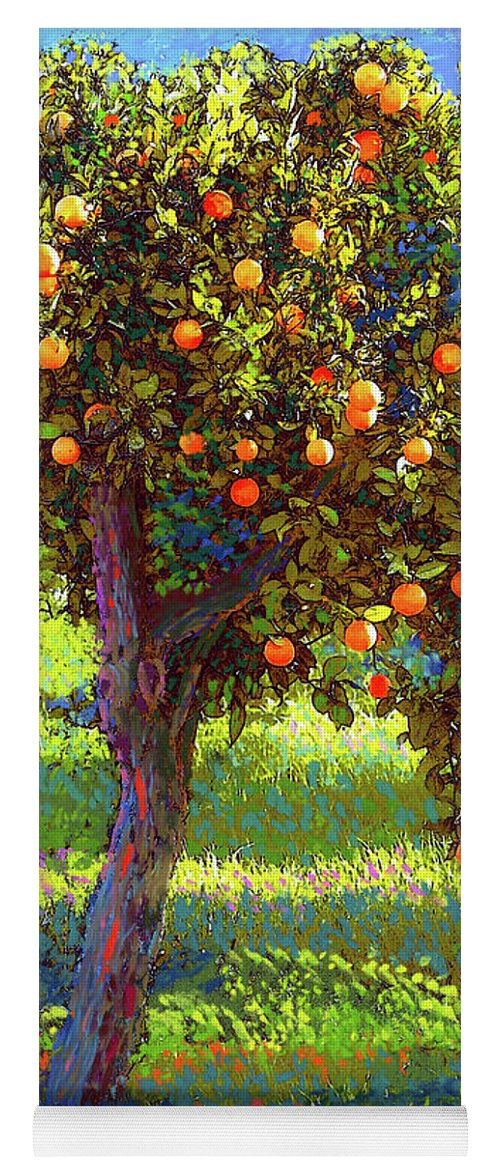 Landscape Yoga Mat featuring the painting Orange Fruit Tree by Jane Small