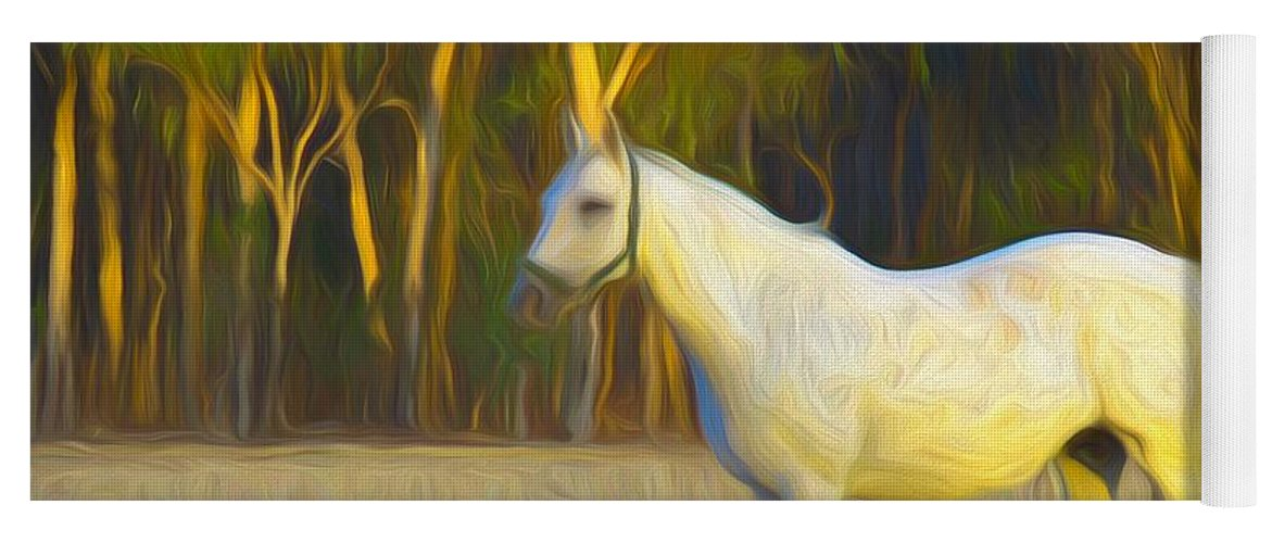 Horse Yoga Mat featuring the mixed media Painted Crystal And Foal by Joan Stratton