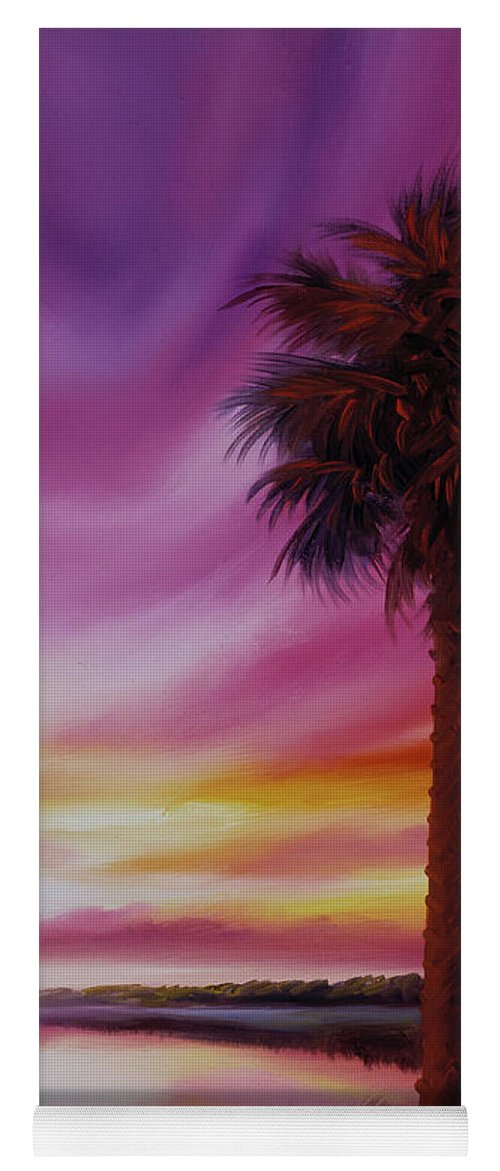 Sunrise Yoga Mat featuring the painting Palmetto Moon by James Christopher Hill