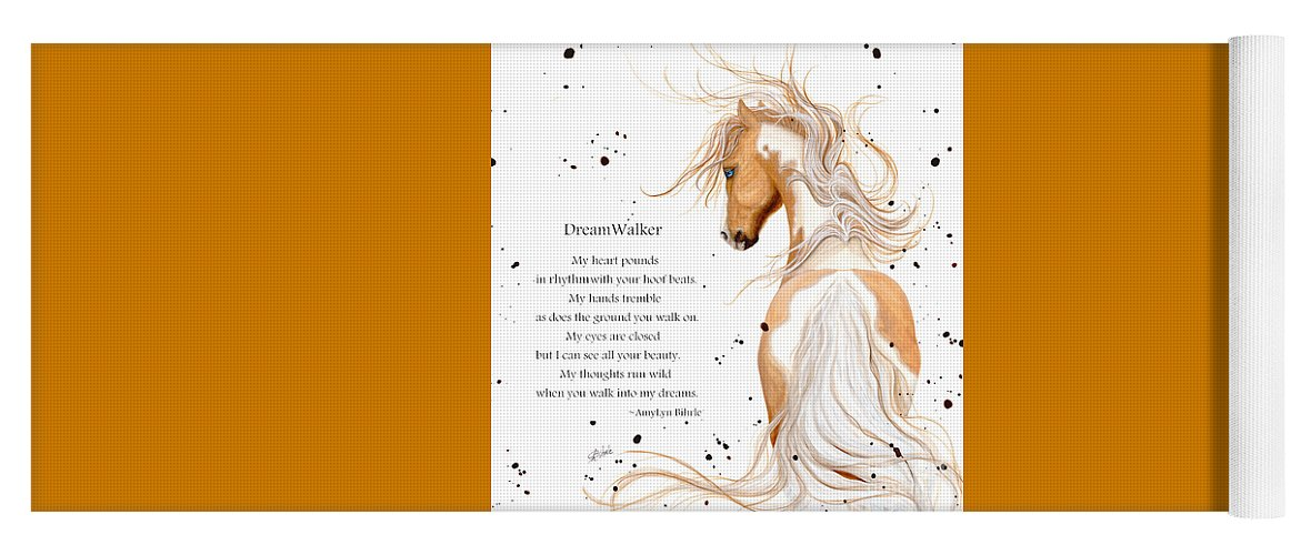 Palomino Yoga Mat featuring the painting Palomino Paint Horse by Bihrle by AmyLyn Bihrle