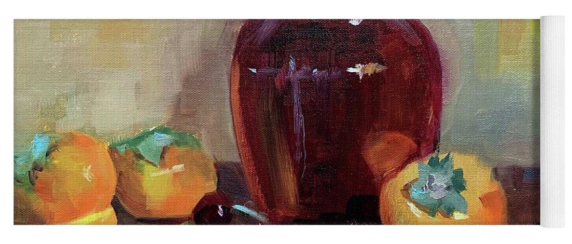 Yoga Mat featuring the painting Persimmon Sweetness by Karen Jordan