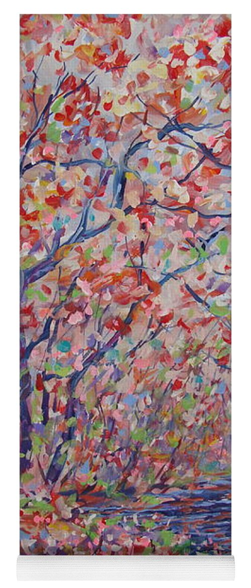 Landscape Yoga Mat featuring the painting Poetic Forest. by Leonard Holland