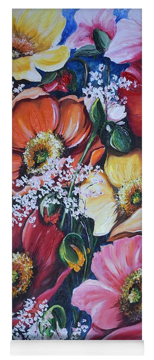 Poppies Yoga Mat featuring the painting Poppies Delight by Karin Dawn Kelshall- Best
