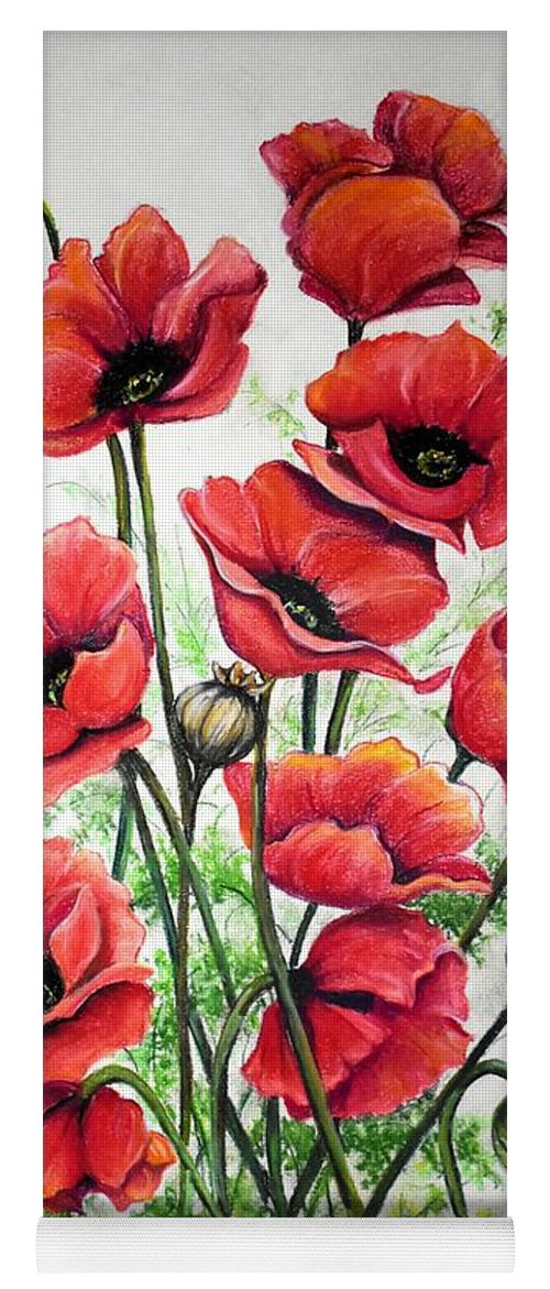 Red Yoga Mat featuring the drawing Poppies In Pastel by Karin Dawn Kelshall- Best