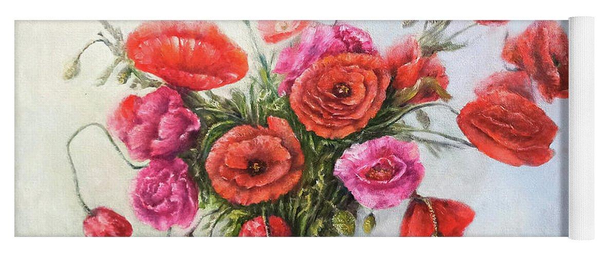 Poppy Yoga Mat featuring the painting Poppy flowers by Natalja Picugina