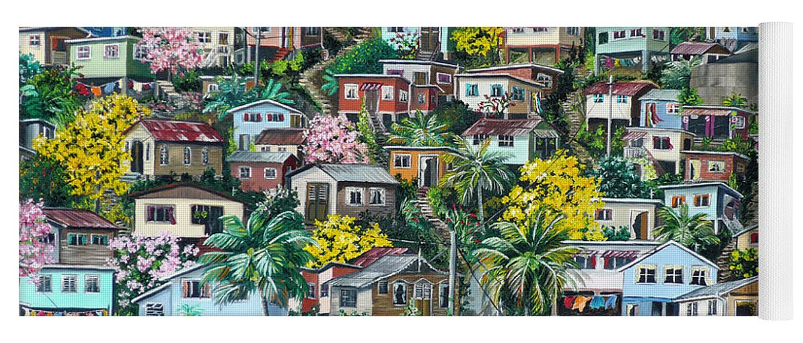 Landscape Painting Cityscape Painting Original Oil Painting  Blossoming Poui Tree Painting Lavantille Hill Trinidad And Tobago Painting Caribbean Painting Tropical Painting Yoga Mat featuring the painting Poui On The Hill by Karin Dawn Kelshall- Best