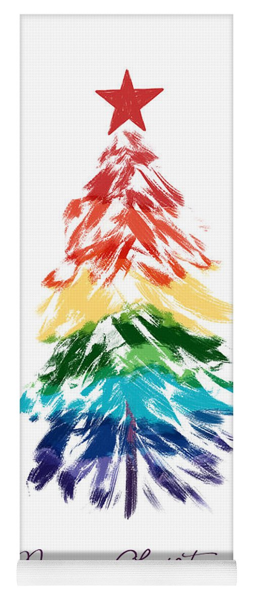 Rainbow Christmas Tree Yoga Mat featuring the digital art Rainbow Christmas Tree- Art By Linda Woods by Linda Woods
