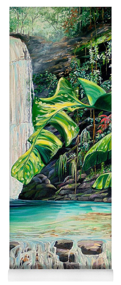 Water Fall Painting Landscape Painting Rain Forest Painting River Painting Caribbean Painting Original Oil Painting Paria Northern Mountains Of Trinidad Painting Tropical Painting Yoga Mat featuring the painting Rainforest Falls Trinidad.. by Karin Dawn Kelshall- Best