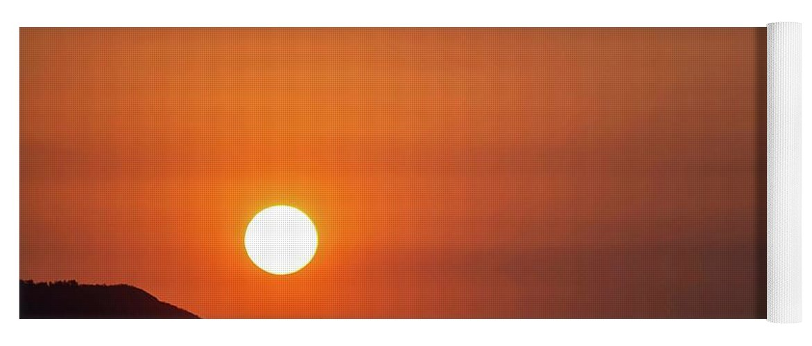 Sunset Yoga Mat featuring the photograph Red sunset and plane in flight by Hannes Roeckel