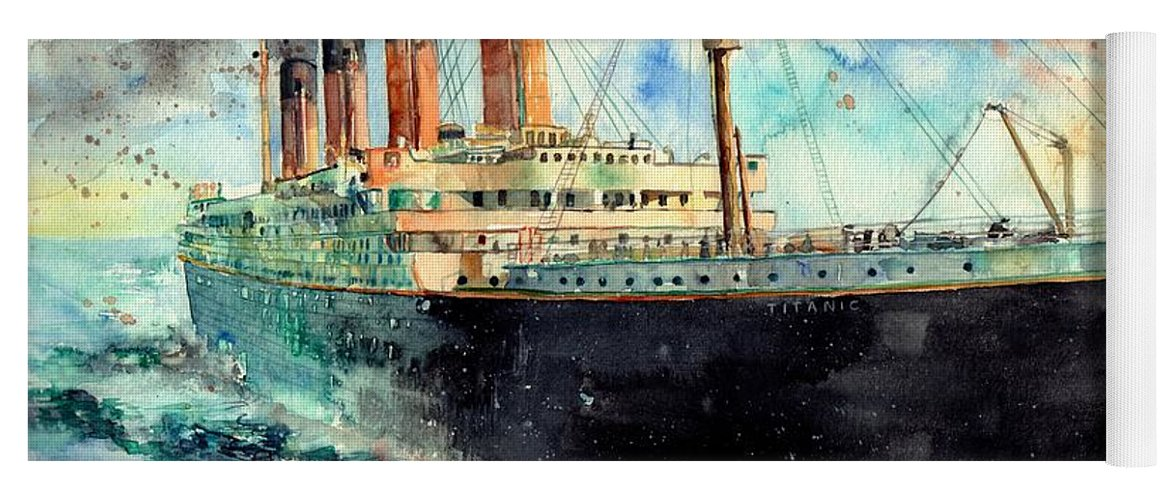 Rms Titanic Yoga Mat featuring the painting RMS Titanic White Star Line Ship by Suzann Sines