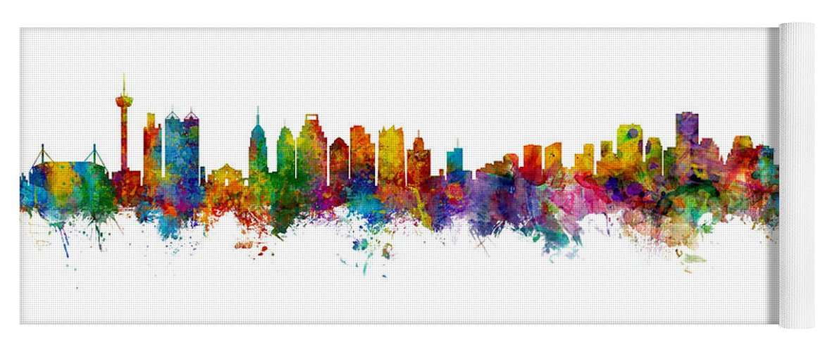 San Antonio Yoga Mat featuring the digital art San Antonio And New Orleans Skyline Mashup by Michael Tompsett