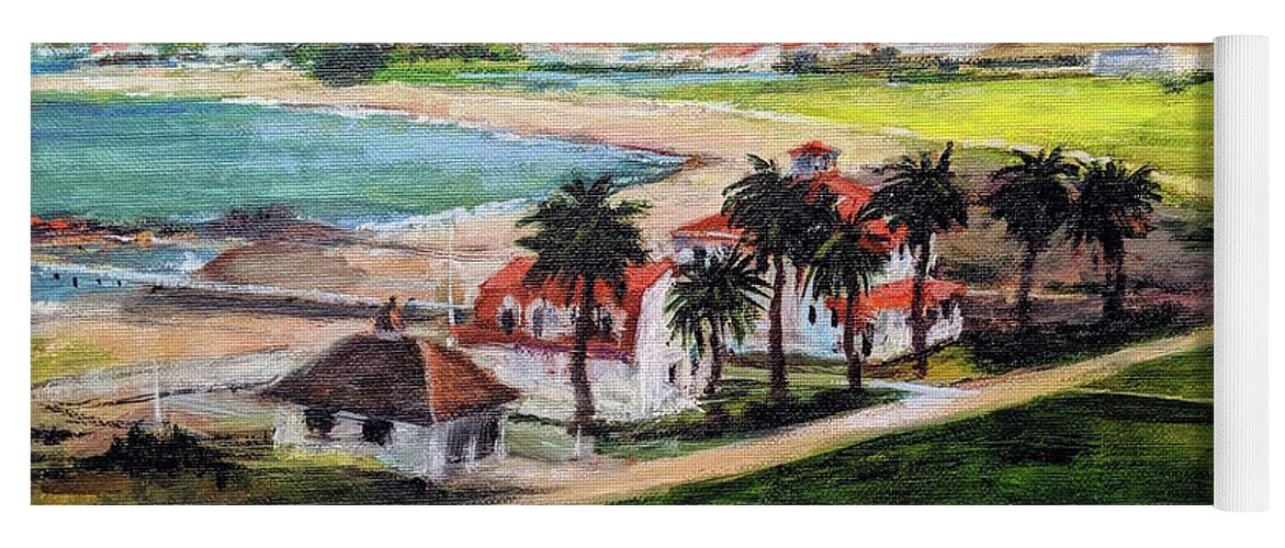 California Yoga Mat featuring the painting San Francisco From Crissy Field Overlook by Peter Salwen