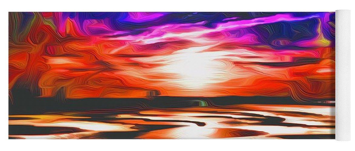 Landscape Yoga Mat featuring the digital art Sands Beach by Michael Stothard