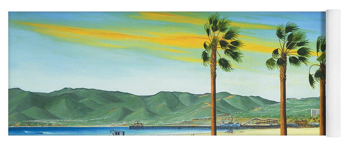 Santa Monica Yoga Mat featuring the painting Santa Monica by Jerome Stumphauzer