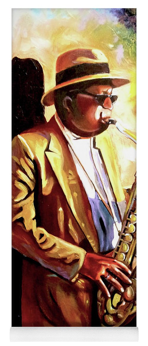 Sax Yoga Mat featuring the painting Sax Player by Jose Manuel Abraham