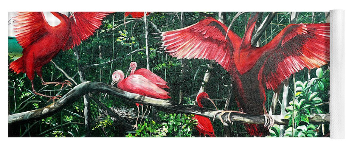Caribbean Painting Scarlet Ibis Painting Bird Painting Coming Home To Roost Painting The Caroni Swamp In Trinidad And Tobago Greeting Card Painting Painting Tropical Painting Yoga Mat featuring the painting Scarlet Ibis by Karin Dawn Kelshall- Best