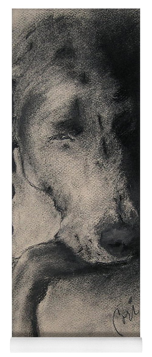 Weimaraner Yoga Mat featuring the drawing Silhouette by Cori Solomon