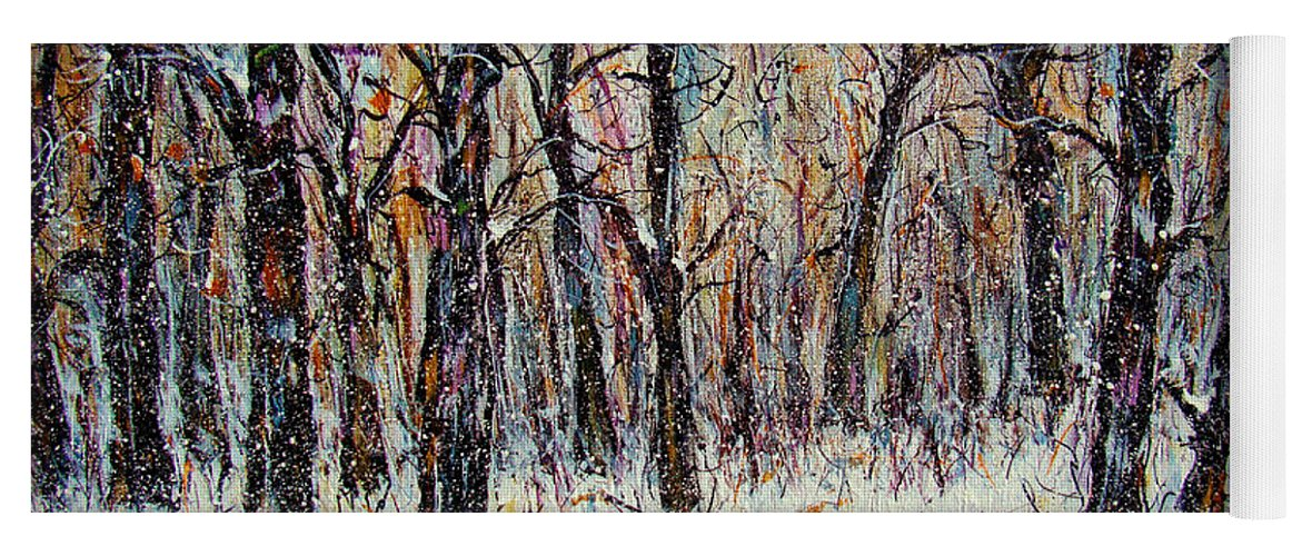 Landscape Yoga Mat featuring the painting Snowing In The Forest by Natalie Holland