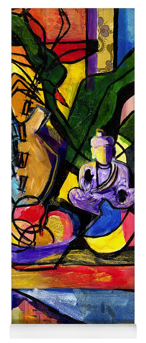 Everett Spruill Yoga Mat featuring the painting Still Life with Buddha by Everett Spruill