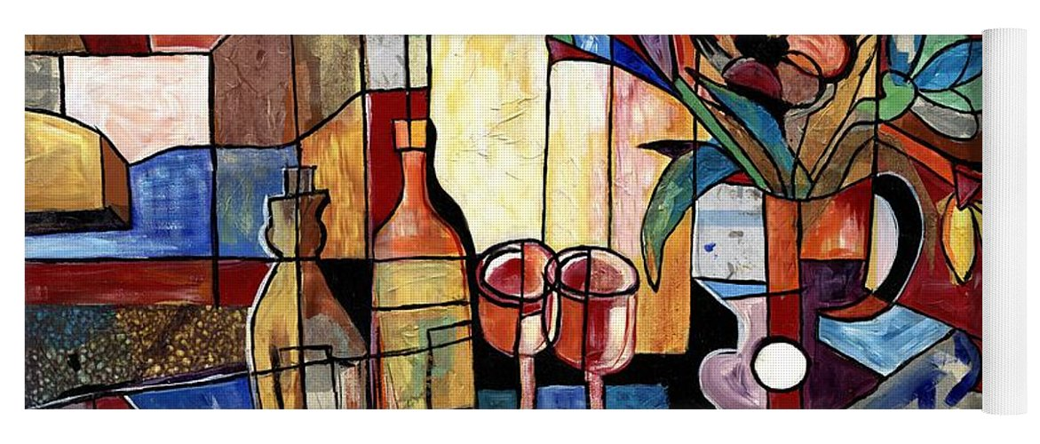 Everett Spruill Yoga Mat featuring the painting Still Life with Wine and Flowers for two take 2 by Everett Spruill