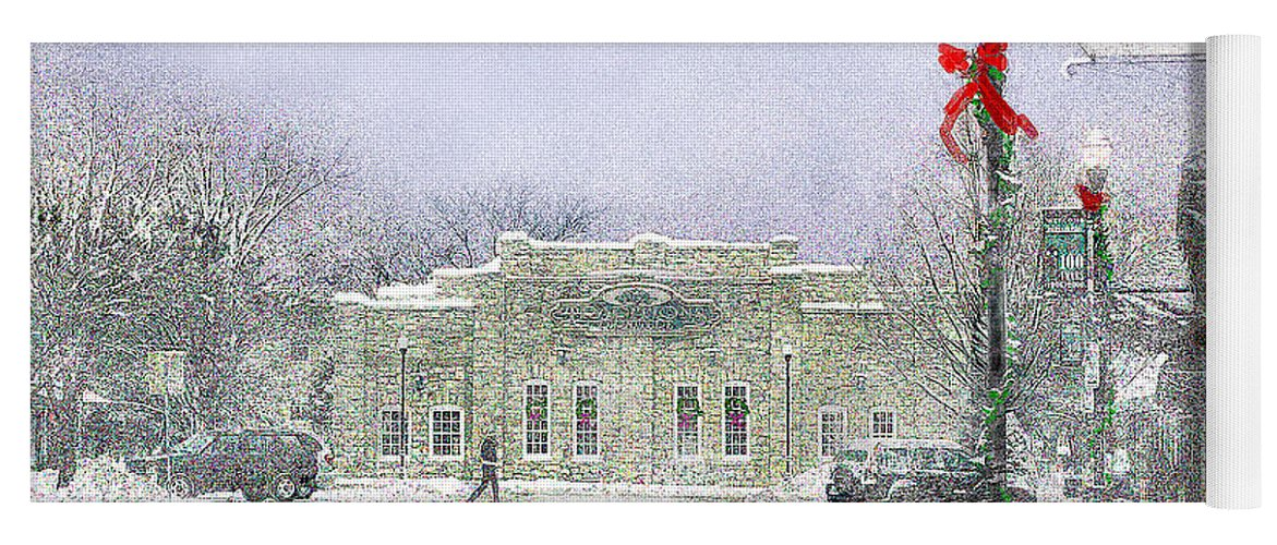 Snow Scene Yoga Mat featuring the photograph Strang Car Barn in Winter by Steve Karol