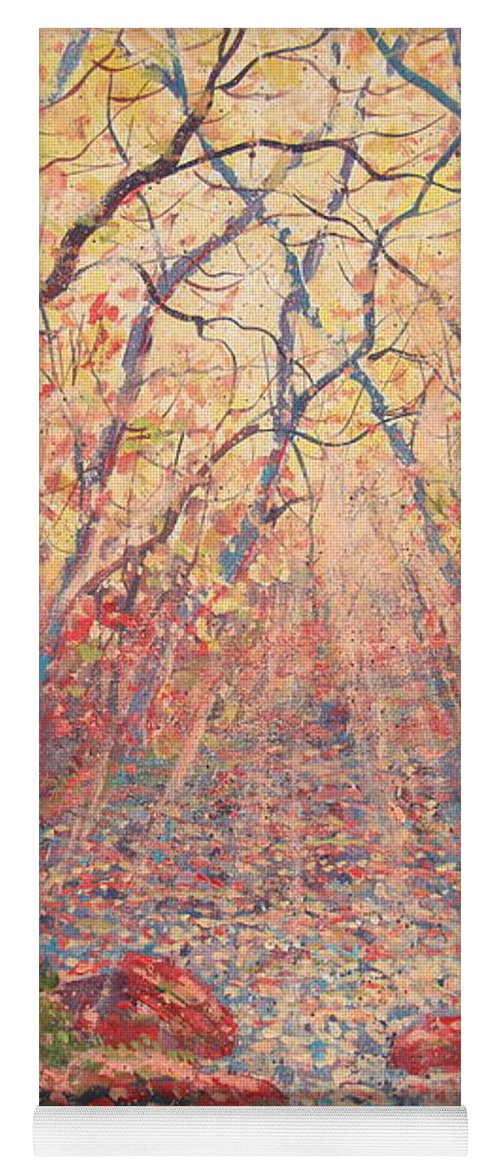 Painting Yoga Mat featuring the painting Sun Rays Through The Trees. by Leonard Holland