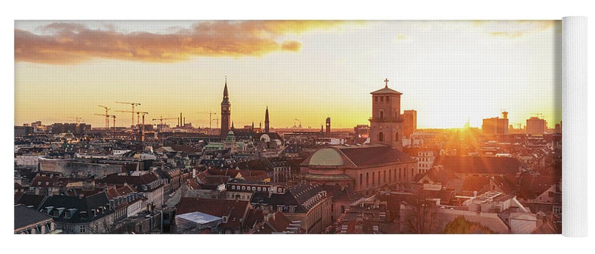 City Yoga Mat featuring the photograph Sunset above Copenhagen by Hannes Roeckel