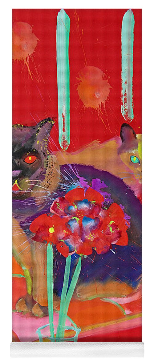 Burmese Cat Yoga Mat featuring the painting Symphony In Red Two by Charles Stuart