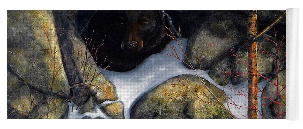 Wildlife Yoga Mat featuring the painting The Encounter Black Bear by Frank Wilson