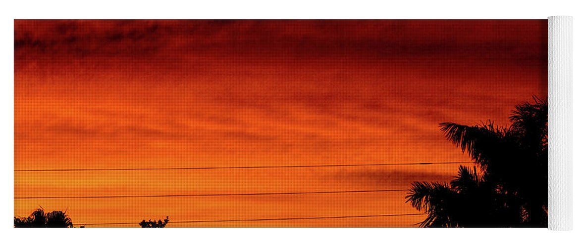 Sunset Yoga Mat featuring the photograph The Fire sky by Daniel Cornell