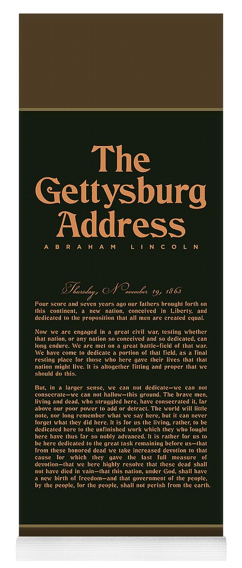Gettysburg Address Yoga Mat featuring the digital art The Gettysburg Address Print - Abraham Lincoln Speech - American History Poster 02 by Studio Grafiikka