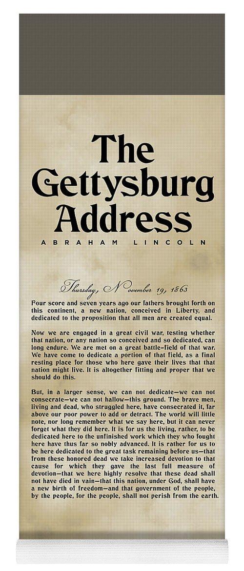 Gettysburg Address Yoga Mat featuring the digital art The Gettysburg Address Print - Abraham Lincoln Speech - American History Poster 03 by Studio Grafiikka