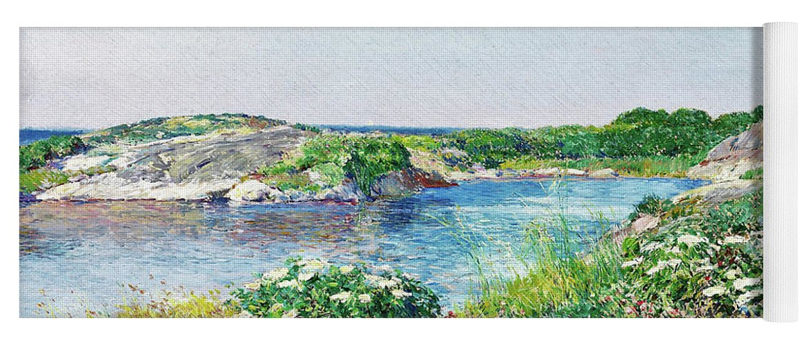 The Little Pond Yoga Mat featuring the painting The Little Pond, Appledore - Digital Remastered Edition by Frederick Childe Hassam
